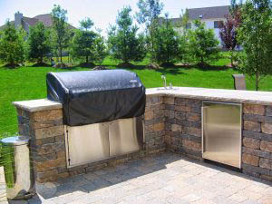 Backyard oasis with grill